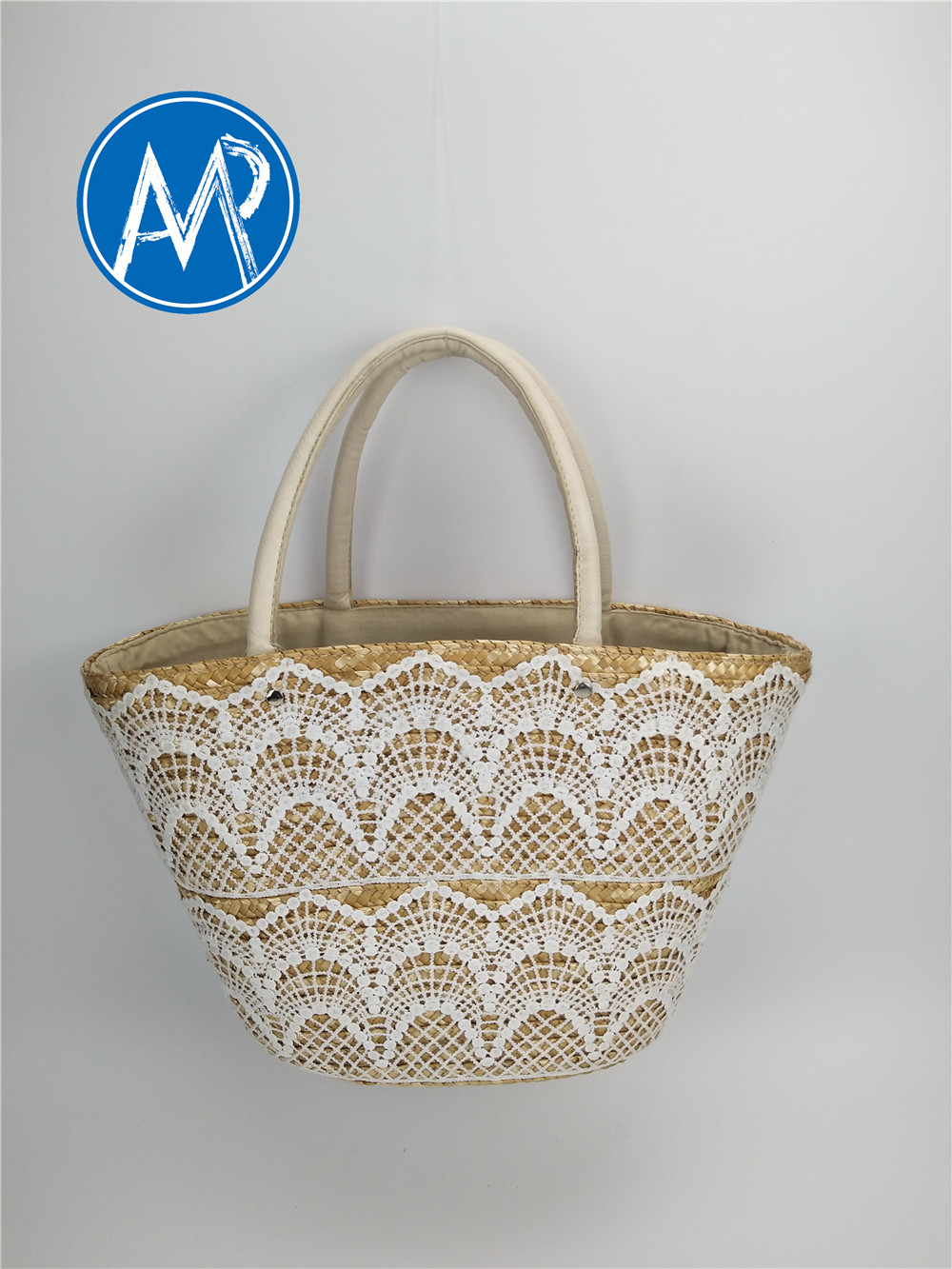wheat woven bag with lace